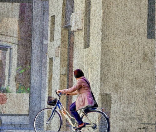 Italian woman on a bicycle